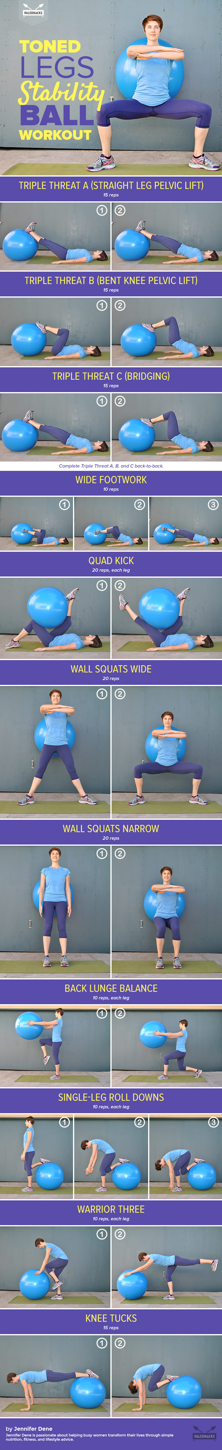 Stability ball leg workout
