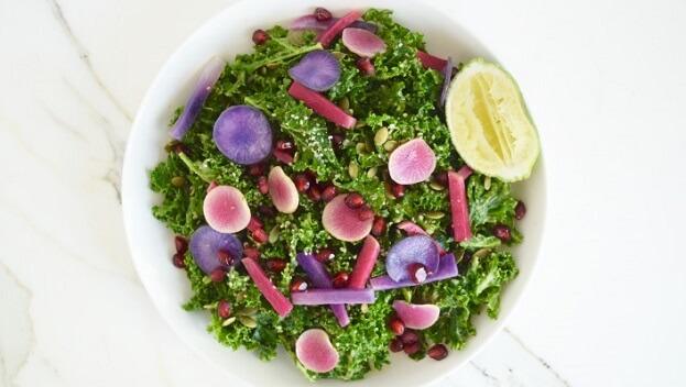 Pink & purple rainbow kale detox salad recipe