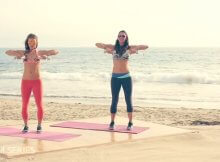 Full-body toning beach workout video