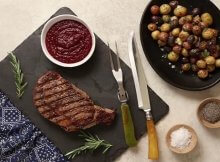 Seared ribeye steak recipe with cherry sauce
