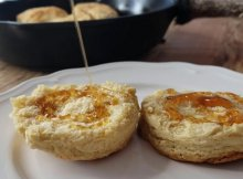 Homemade buttermilk biscuits recipe in a cast iron skillet