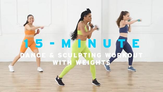 15-minute cardio dance & sculpt workout video
