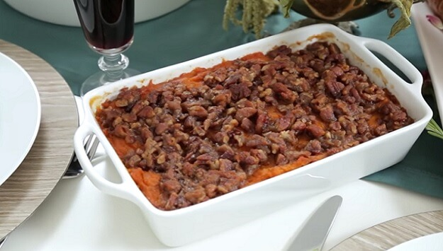 Maple Pecan sweet potato casserole recipe Thanksgiving
