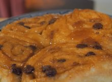 Homemade chocolate caramel cinnamon rolls recipe